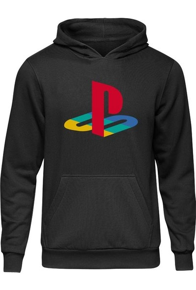 Fandomya Casual Playstation Old Logo Siyah Kapüşonlu Hoodie