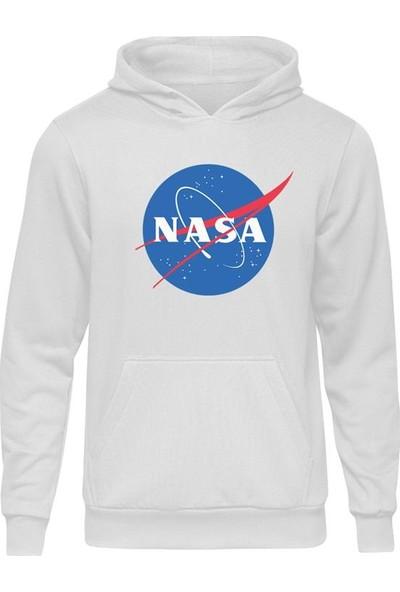 Casual Nasa Logo Beyaz Kapüşonlu Hoodie