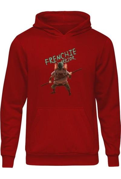 Casual French Bulldog Warrior Kırmızı Kapüşonlu Hoodie