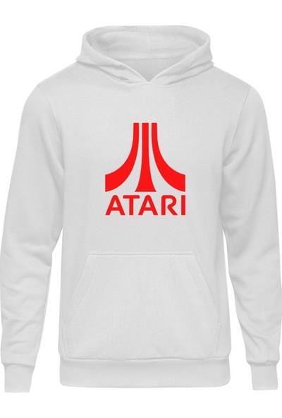 Casual Atari Red Beyaz Kapüşonlu Hoodie