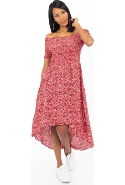 Hds Hadise Kırmızı Gipeli Arkası Uzun Çiçekli Elbise 0472