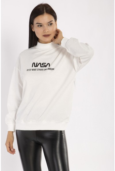 Hds Hadise Ekru Nasa Baskılı Sweatshirt 1152