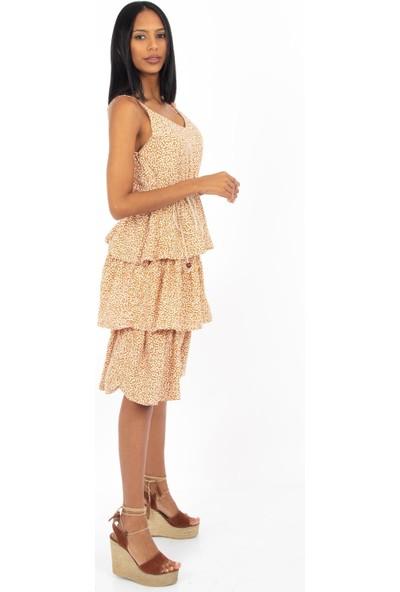 Hds Hadise Hardal Desenli Kat Kat Büzgülü Askılı Elbise 3097
