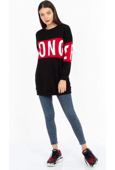 Hds Hadise Kırmızı Stronger Baskılı Sweatshirt 3148