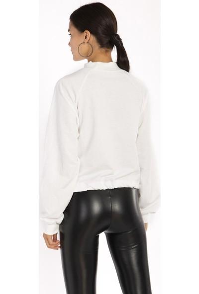 Hds Hadise Ekru Yarım Balıkçı Eteği Bağcıklı Sweatshirt 6511