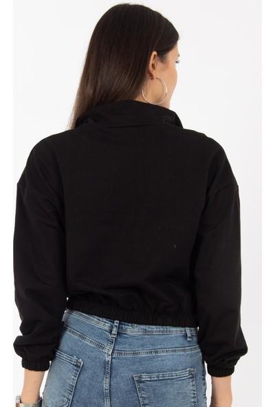 Hds Hadise Siyah Şerit Fermuar Sweat 6541