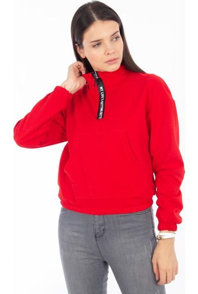 Hds Hadise Kırmızı Şerit Fermuar Sweat 6541