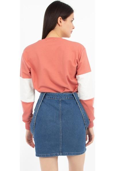 Hds Hadise Gül Kurusu Oxford Baskılı Parçalı Sweatshirt 7111