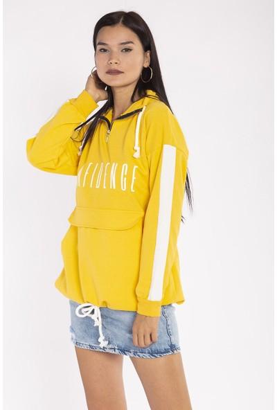 Hds Hadise Sarı Confidence Baskılı Kapaklı Cep Sweatshirt 8027