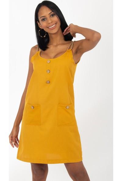 Hds Hadise Hardal İp Askılı Üç Düğmeli Elbise 19894