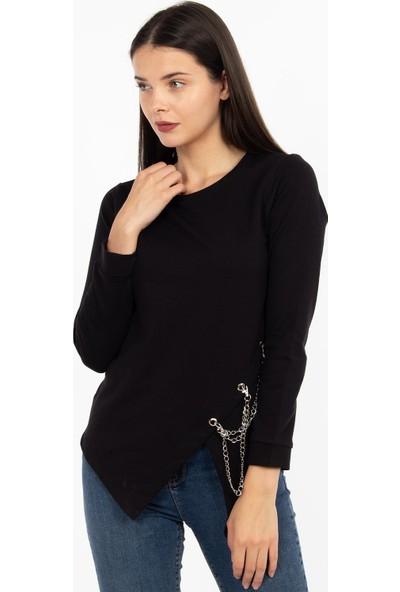 Hds Hadise Siyah Eteği Zincirli Sweatshirt BB-1425