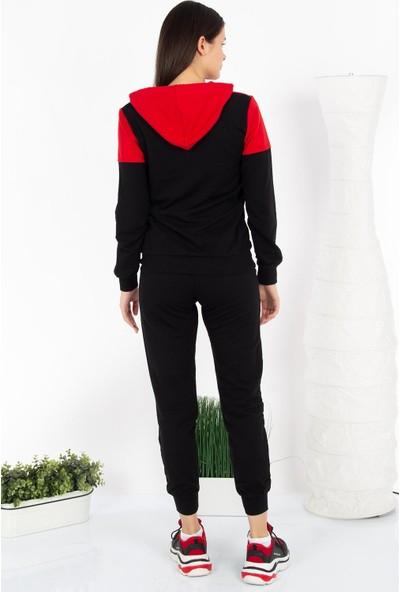 Hds Hadise Kırmızı Siyah Selfwho Baskılı Kapşonlu Eşofman Takımı D2957