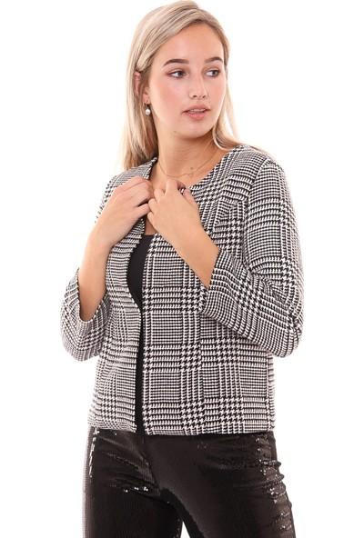 Sense Kadın 31700 Kareli Kısa Ceket