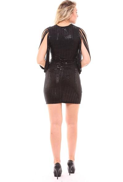Sense Kadın 32214 Önü Kruvaze Kolları Lazer Kesim Elbise