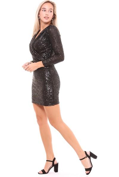 Sense Kadın 32215 Önü Kruvaze Payet Elbise