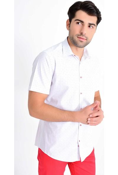 Hatemoğlu Erkek Baskılı Kısa Kol Slim Fit Gömlek