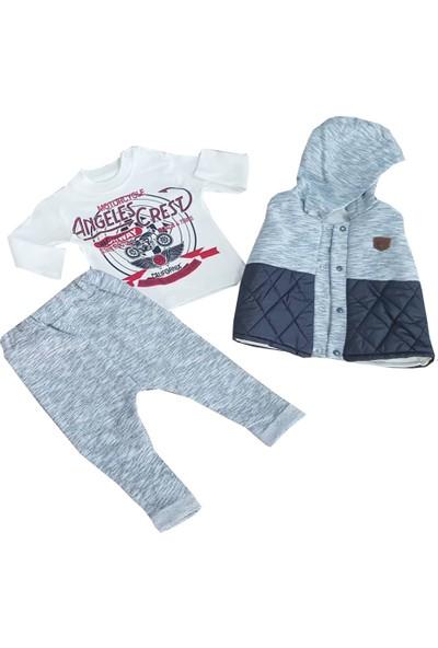 White Baby 3'lü Kapşonlu Badili Erkek Çocuk Takım 12-24 Ay