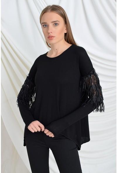 Tena Moda Kadın Siyah Kolları Püsküllü Pullu Çilek Bluz 9KBBLLU3170