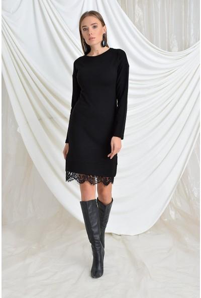 Tena Moda Kadın Siyah Etek Ucu Dantel Triko Elbise 9KBELFE6219
