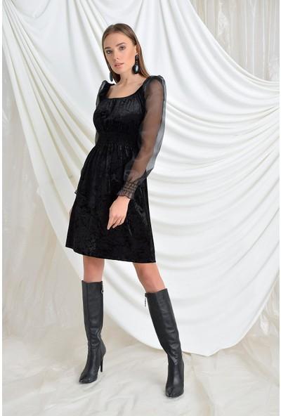 Tena Moda Kadın Siyah Kolları Şifon Kadife Elbise 9KBELTF-330