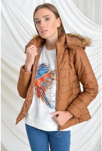 Tena Moda Kadın Taba Kapüşonlu Yanları Fermuarlı Şişme Mont 9KBMNBD5057