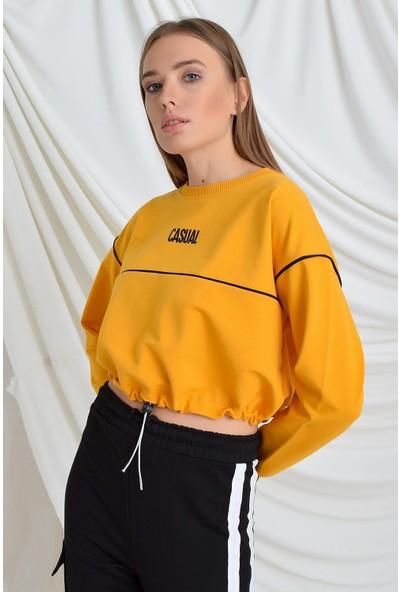 Tena Moda Kadın Hardal Casual Baskılı Sweatshirt 9KBSWNO7100
