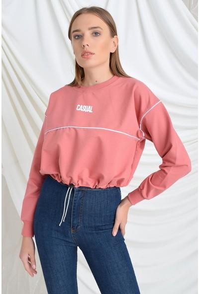 Tena Moda Kadın Gül Kurusu Casual Baskılı Sweatshirt 9KBSWNO7100