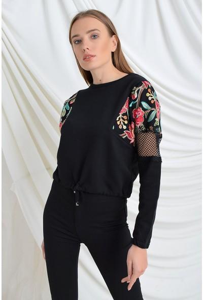Tena Moda Kadın Siyah Kolları File Nakışlı Sweatshirt 9KBSWTF-175