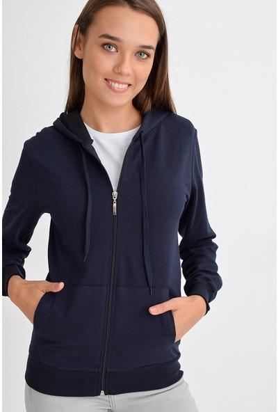 Tena Moda Kadın Lacivert Kapüşonlu Fermuarlı Cepli Sweatshirt 9KBSWWO3001