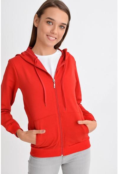 Tena Moda Kadın Kırmızı Kapüşonlu Fermuarlı Cepli Sweatshirt 9KBSWWO3001