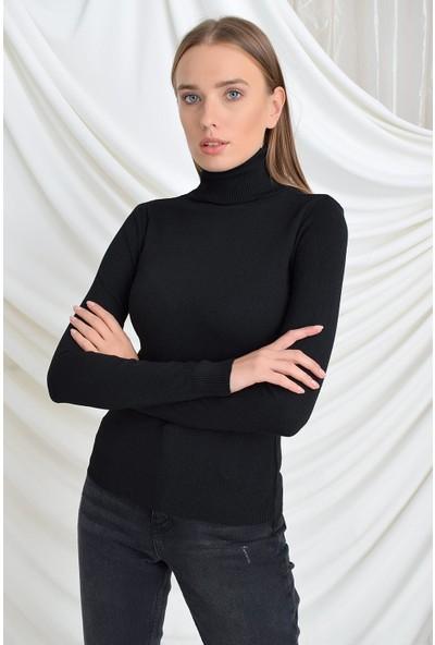 Tena Moda Kadın Siyah Likralı Düz Balıkçı Triko Kazak 9KBTRWE4949
