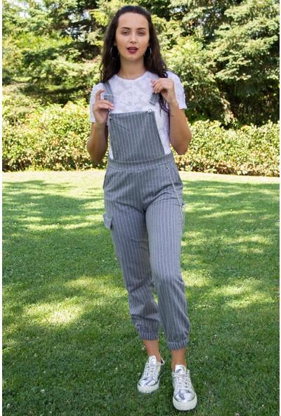 Hds Hadise Kadın Gri Çizgili Zincirli Salopet Pantolon 201525