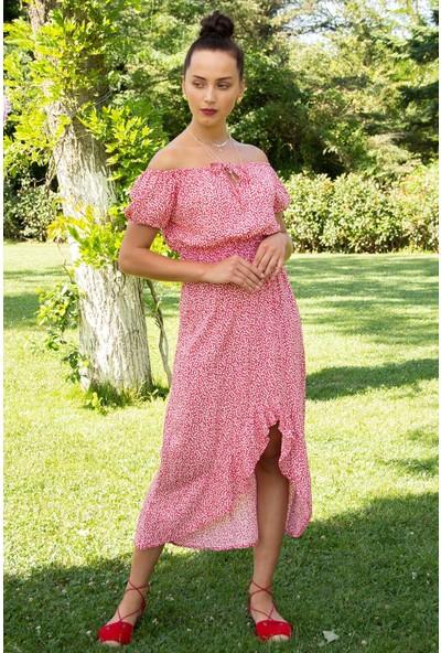 Hds Hadise Kadın Kırmızı Desenli Bluz Etek Takım 201610