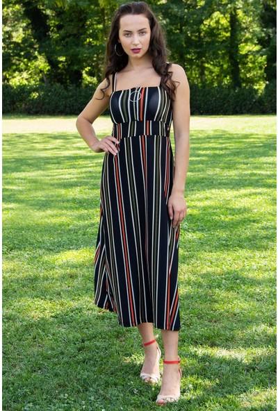 Hds Hadise Kadın Renkli Çizgili Fermuarlı Askılı Elbise 3408