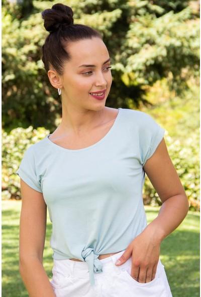 Hds Hadise Kadın Mint Yeşil Eteği Bağlamalı T-Shirt 3483
