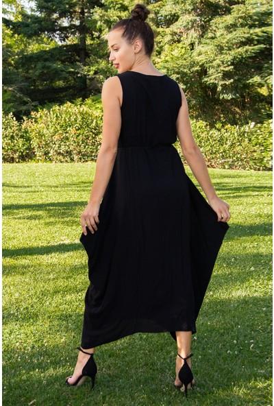 Hds Hadise Kadın Siyah Yakası Kilim Desenli Elbise 1512T