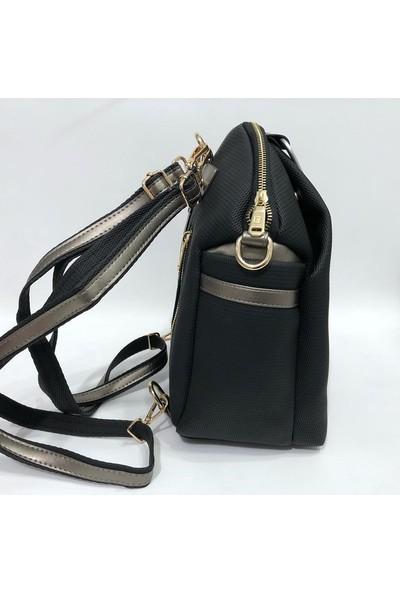 Golden Polo Sırt ve Elde Tutmalı Çanta 28 x 28 cm Siyah-Bej