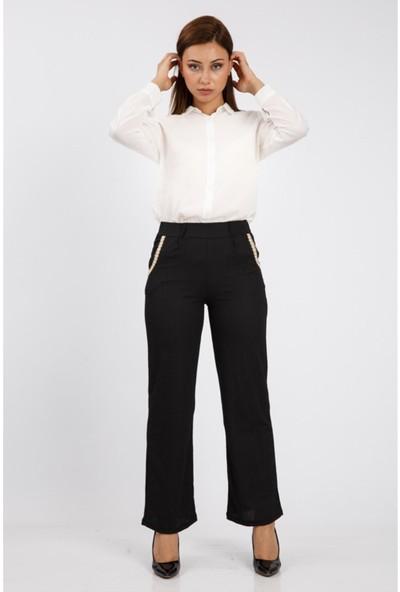 Benguen 1429 Hasir Kemerli Rahat Kesim Pantolon - Siyah
