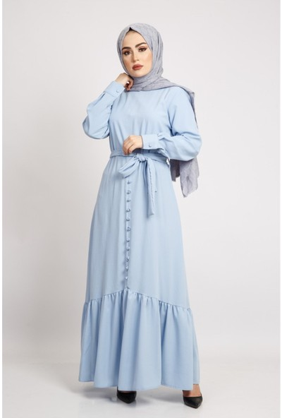Benguen 6017 Etekleri Büzgülü Kuşakli Tesettür Elbise - Bebe Mavisi
