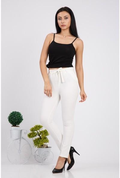 Benguen Beli Kuşakli Dar Paça Dabil Pantolon H236 - Beyaz
