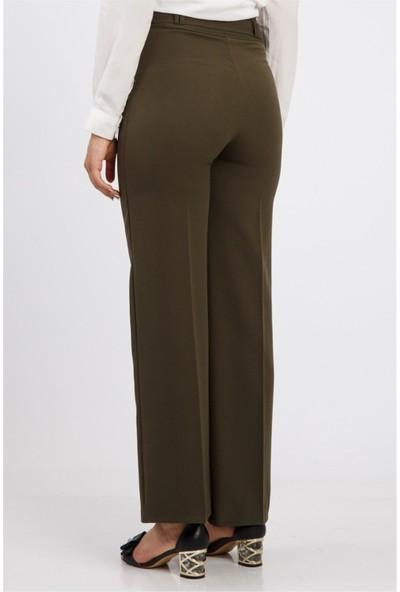 Benguen Bol Paça Kuşakli Dabil Pantolon H238 - Haki