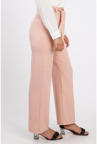Benguen Bol Paça Kuşakli Dabil Pantolon H238 - Pudra