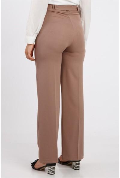 Benguen Bol Paça Kuşakli Dabil Pantolon H238 - Vizon