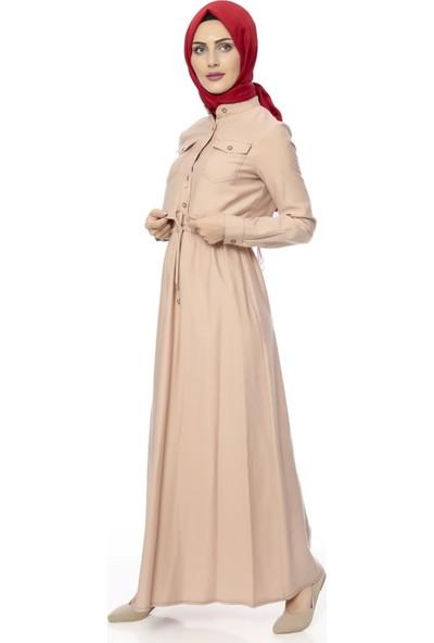 Benguen Cepli Beli Büzgülü Elbise 5045 - Somon