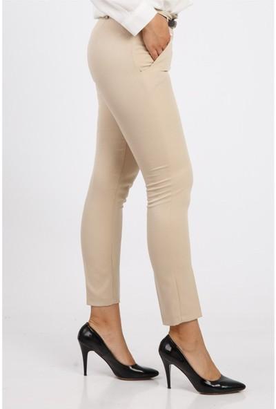 Benguen Kemerli Dar Paça Dabil Pantolon H237 - Bej