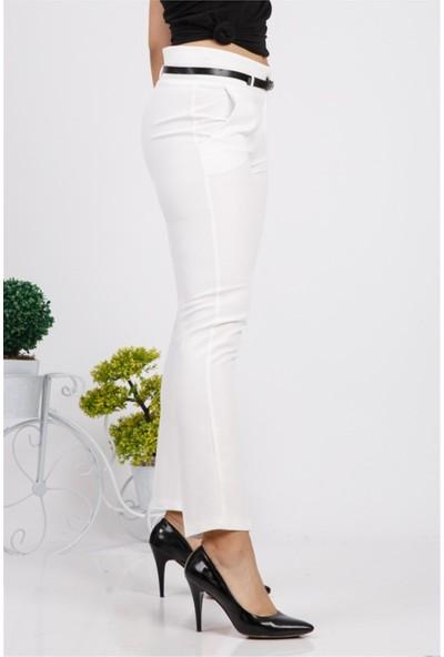 Benguen Kemerli Dar Paça Dabil Pantolon H237 - Beyaz