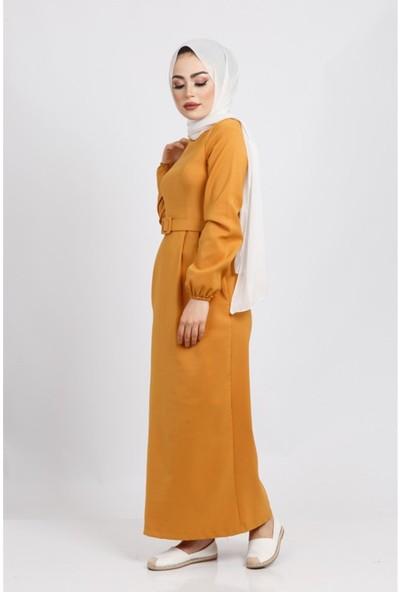 Benguen Z6085 Beli Kemerli Elbise - Hardal