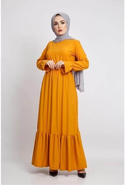 Benguen Z6119 Beli Büzgülü Uzun Tesettür Elbise - Hardal
