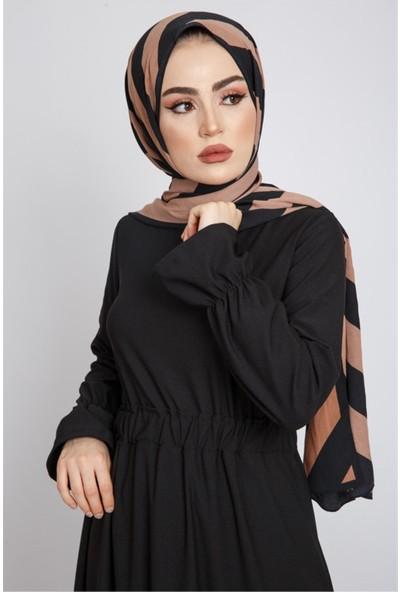 Benguen Z6119 Beli Büzgülü Uzun Tesettür Elbise - Siyah