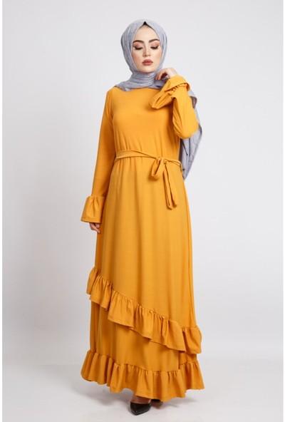 Benguen Z6122 Kolları Volanlı Uzun Tesettür Elbise - Hardal